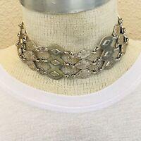 VTG Modernist Collar choker Necklace Silver Rare Statement 70s  massive