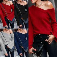 Women Sexy Knitted Sweater Long Sleeve Off Shoulder Pullovers Casual Tops Jumper
