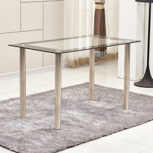Modern Tempered Glass Dining Table Metal Legs Dining Room Kitchen Black&Clear