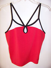 Womens Exercise Top Red White & Blue Bra Shelf  No Size Tag SEE MEASUREMENTS