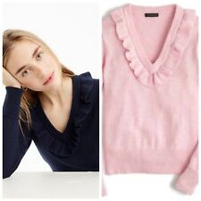 J.CREW RUFFLE V-NECK SWEATER PINK LONG SLEEVES RIBBED CUFFS SIZE L NWOT