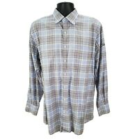 Peter Millar Footjoy Titleist Mens Large L Button GOLF Shirt Blue Brown Plaid