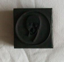 Art Deco Style Print Stamp of Female Face Mounted On a Hardwood Block