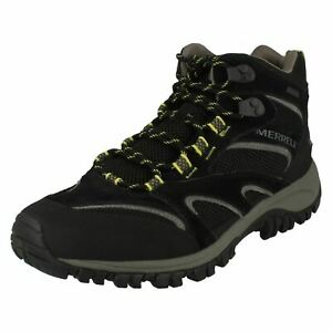 Merrell Phoenix Mid Waterproof Black Suede & Textile Lace Up Hiking Style Boots