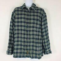 Timberland Men Shirt XL Blue Cream Plaid Button Down Long Sleeve 100% Cotton E26