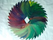 Hand-Painted Saw blade Multi colored, mushrooms, peace sign.