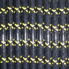 WOVEN BLACK W/YELLOW TRACERS, MAGNETO SPARK PLUG WIRE 7MM  COPPER CORE