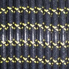 WOVEN BLACK W/YELLOW TRACERS, MAGNETO SPARK PLUG WIRE 7MM  COPPER CORE