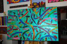 XXL Acryl Kunst Leinwand Bild grosses Wandbild 160x100 Lascaux Smaragdgrü