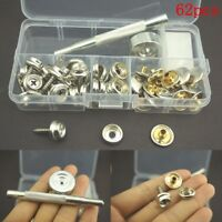 62pcs Stainless Steel Press Studs Screw Bases Snap Kit Fasteners Poppers Leather