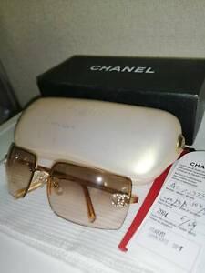 CHANEL CC Coco Logos Gold 4092-B Rhinestone Half Rim Sunglasses Italy Auth