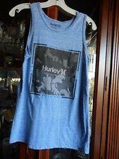 Hurley Tank Top T Shirt Mens Small Tweed Blue Born From Water Logo