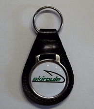 Reproduction Vintage Skiroule Snowmobile Medallion Style Leather Keychain