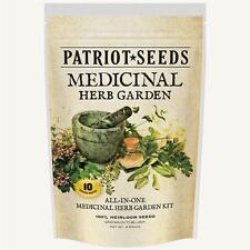 Patriot Seeds 10 Variety Seed Pack Kit 100% Heirloom Medicinal Herb Garden