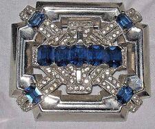 McClelland Barclay Crystal Clear Sapphire Blue Rhinestone Silver Tone Brooch Pin