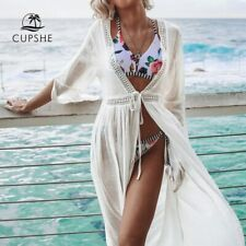 CUPSHE White Open Back Self-tie Bikini Cover Up Sexy Lace Up Long Dress Covers