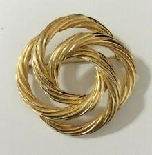 Vtg Monet Textured Gold Tone Swirled Rope Open Work Brooch