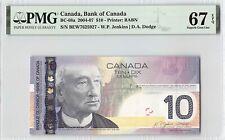 Canada 2004 BC-68a PMG Superb Gem UNC 67 EPQ 10 Dollars (Jenkins-Dodge)
