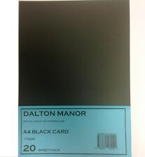 20 SHEET A4 CARD BLACK 170gm HIGH QUALITY ART CRAFT OFFICE COLLAGE USE