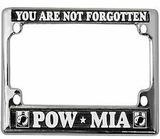 POW MIA HIGH QUALITY METAL MOTORCYCLE LICENSE PLATE FRAME - MADE IN THE USA!!