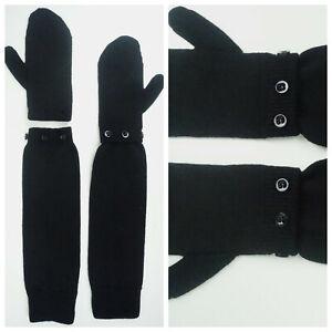 MAISON MARGIELA MM6 Wool Long Mittens Gloves Wrist Warmers Black Buttons