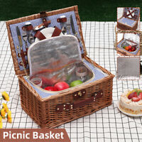Outdoor Insulated Picnic Basket Wicker Basket Camping Willow Bag Hiking Travel