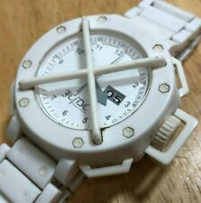 JC/DC Time Track x ODM Men 100m White Analog Quartz Watch Hours~Date~New Battery