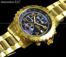NEW Invicta Mens 18K Gold Plated Stainless Steel Blue Dial Chronograph Watch !!