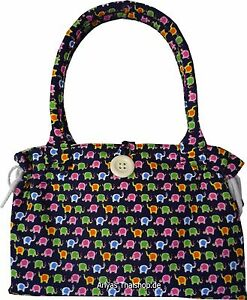 Damen Hand Tasche Shopper Schultertasche lustige Elefanten Muster Gobelin 10574