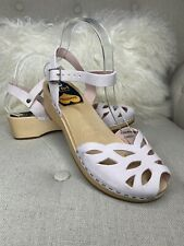 Swedish HASBEENS Toffel Pink Clogs Sandals Peep Toe Laser Cut Out Sz 38