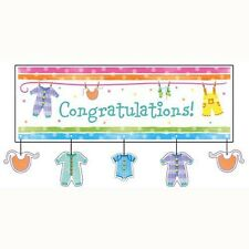 Baby Clothes Giant Party Banner with attachment (152x50cm) 20291514 Baby Shower