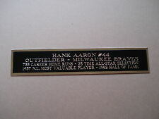 Hank Aaron Braves Engraved Nameplate For A Baseball Jersey Or Helmet Case 1.25X6