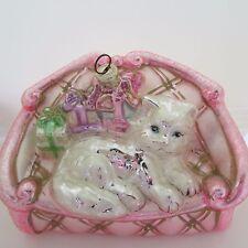Kurt S. Adler Glass Ornament Polonaise White Kitty Cat On Pink Sofa
