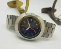 HUGE USED 1970'S ROAMER ROCKSHELL BLUE DIAL AUTOMATIC MAN'S WATCH