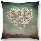 Doves of Peace Heart Formation Manga Fairy Tale Linen Pillow Cushion Cover.
