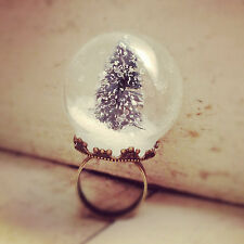 Snow Globe Ring - GLASS Christmas Pine Tree Ring WINTER SNOW - Adjustable
