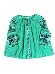 Crown & Ivy Curvy Women's Plus Green Embroidery Blouse Top Size 3X Retail $72.50