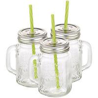 Smoothie Gläser: Retro-Trinkglas mit Henkel, Deckel und Trinkhalm, 3er-Set
