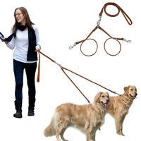 Koppelleine Hundekoppel Hundeleine für 2 Hunde Doppelleine Leder Durable Braun
