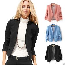 Waist Length Cotton Blend Casual Blazers for Women