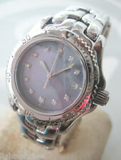 TAG HEUER Link Classic Diamond Quartz Date Big Lady Blue pearl color