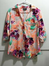 Bebe women's size large half sleeve button down with colorful flower design
