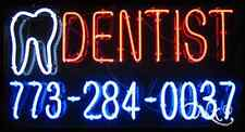 """NEW """"DENTIST"""" W/YOUR PHONE NUMBER 37x20 REAL NEON SIGN w/CUSTOM OPTIONS 10676"""