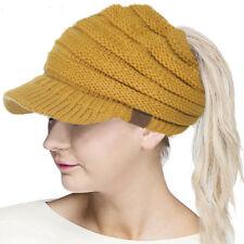 New Warm Brim Visor Trim Ponytail Beanie Ski Hat Knitted Stretchy Messy Bun Cap