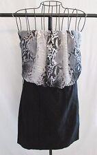 Used Jr Women Ruby Rox Dress Strapless Animal Print Sz 3 Cocktail Black Silver