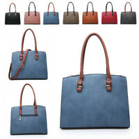 Ladies Faux Leather Handbag Multi Compartment Day Work Shoulder Bag Tote MA36499