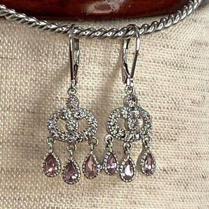 Sterling Silver Leverback Earrings Pink CZ Chandelier Style Crystal Drops