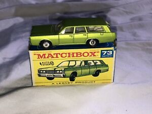 Lesney Matchbox 1968 Mercury Wagon No. 73 with Box Super Nice Auto Steer Minty