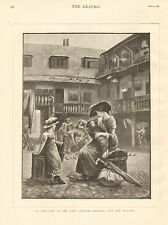 1884 ANTIQUE PRINT-ART-INN YARD IN LAST CENTURY, WAITING FOR THE WAGGON