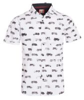 New Mens ID Extra Slim Short Sleeve Button Up White Shirt Black Van Polka Dot